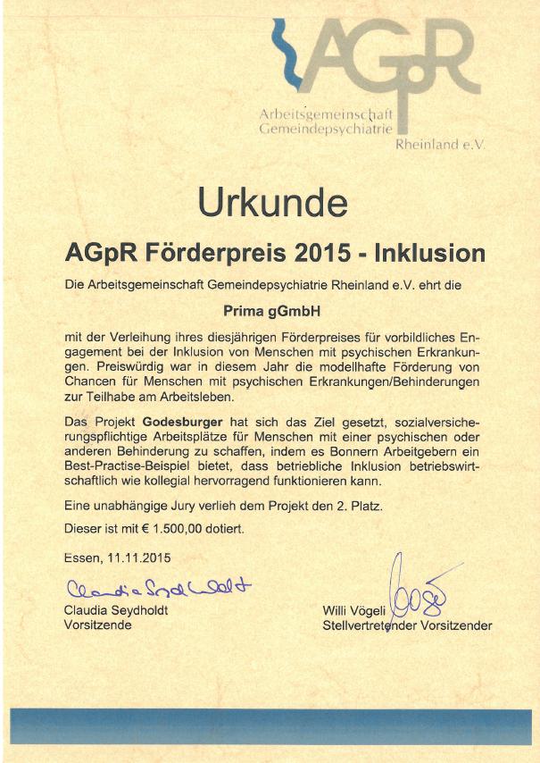 AGPR Preis für den Godesburger